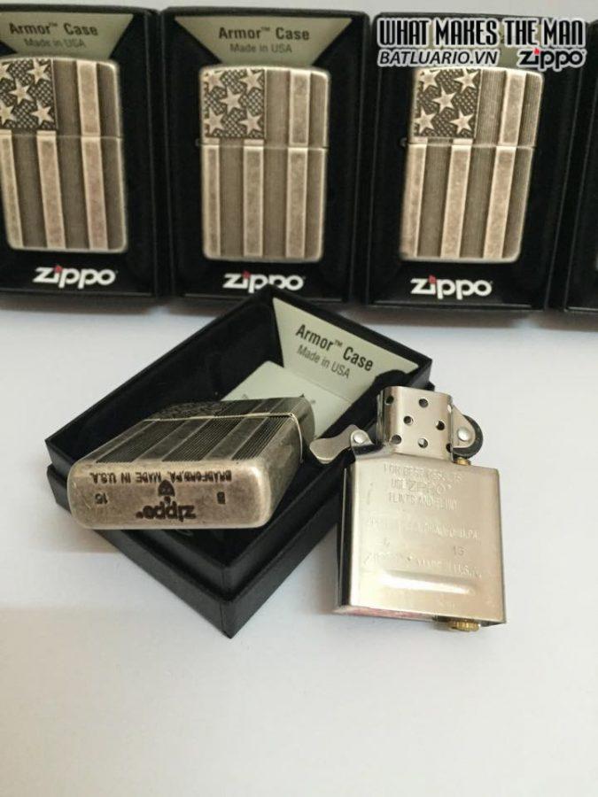 Zippo 28974 – Zippo Armor – US Flag – Antique Silver Plate