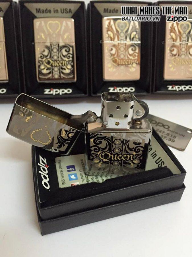 Zippo 28797 – Zippo Engraved Queen Laser Black Ice