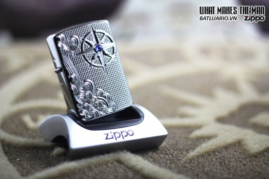 Zippo 28809 – Zippo Armor Luxury Waves Deep Carve High Polish With Swarovski Crystal