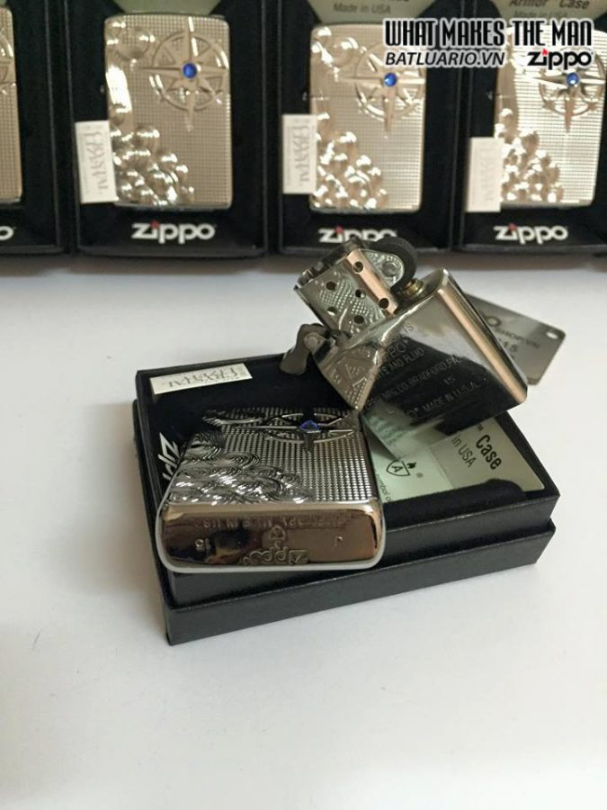 Zippo 28809 – Zippo Armor Luxury Waves Deep Carve High Polish With Swarovski Crystal