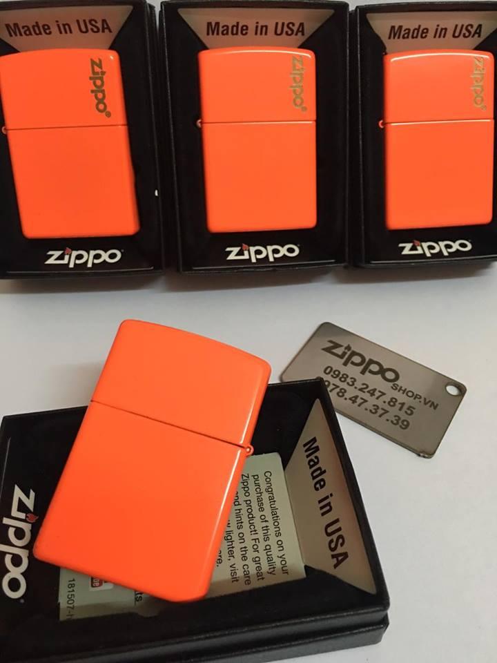 Zippo 28888ZL - Zippo Plain with Logo Neon Orange Matte 1