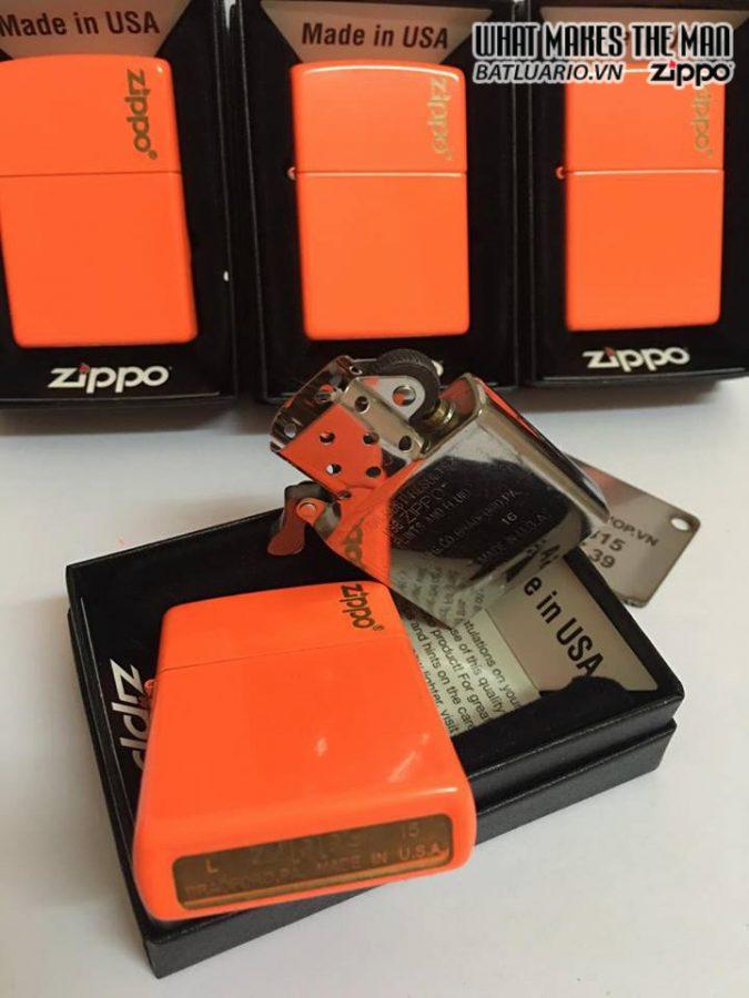 Zippo 28888ZL – Zippo Plain with Logo Neon Orange Matte