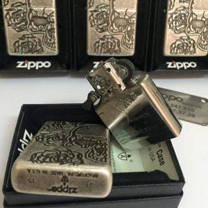 Zippo 28988 – Zippo Armor Skull Roses Antique Silver Plate