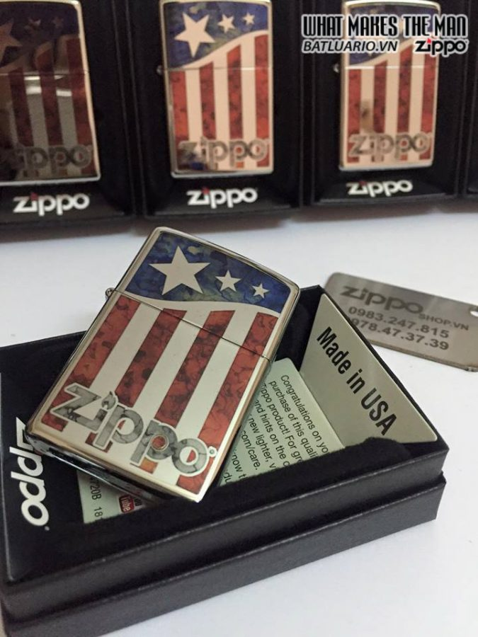 Zippo 29095 – Zippo Us Flag Polished Chrome