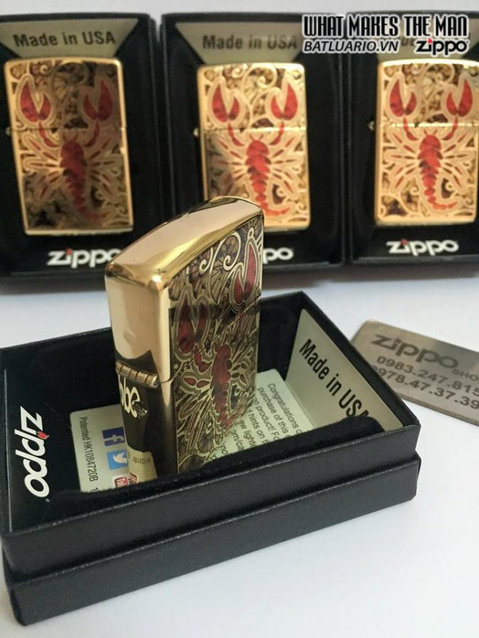 Zippo 29096 – Zippo Scorpion Shell Polished Brass