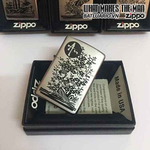 Zippo 205 KHẮC AN - BỘ TỨ QUÝ AN KHANG THỊNH VƯỢNG - ZIPPO 205.AN