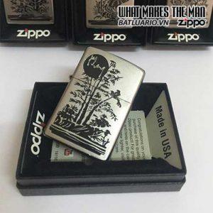 Zippo 205 KHẮC KHANG - BỘ TỨ QUÝ AN KHANG THỊNH VƯỢNG - ZIPPO 205.KHANG