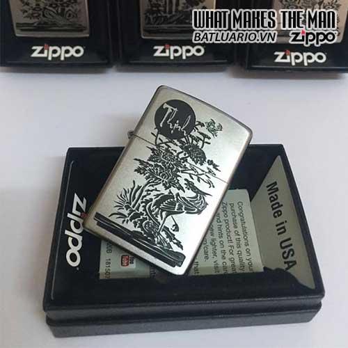 Zippo 205 KHẮC THỊNH - BỘ TỨ QUÝ AN KHANG THỊNH VƯỢNG - ZIPPO 205.THINH