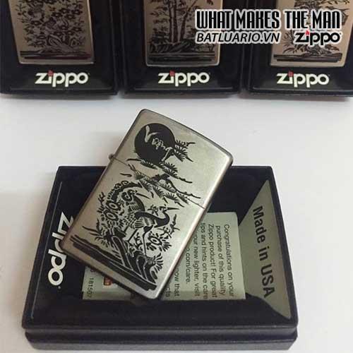 Zippo 205 KHẮC VƯỢNG - BỘ TỨ QUÝ AN KHANG THỊNH VƯỢNG - ZIPPO 205.VUONG
