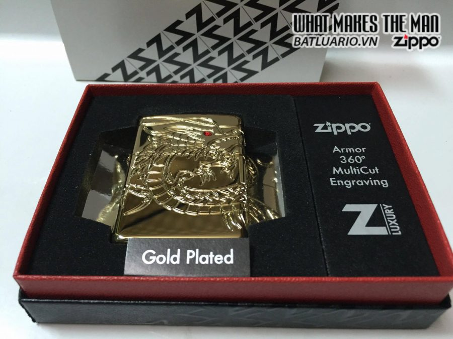 Zippo 29265 – Zippo Red Eyed Dragon 360 Degree Engraving Gold Plate 9