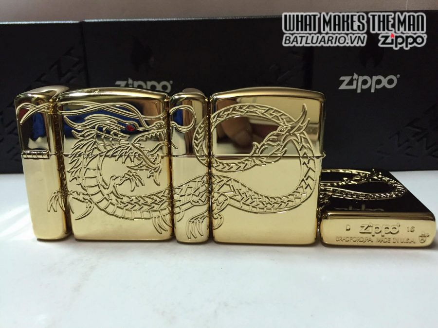 Zippo 29265 – Zippo Red Eyed Dragon 360 Degree Engraving Gold Plate 8