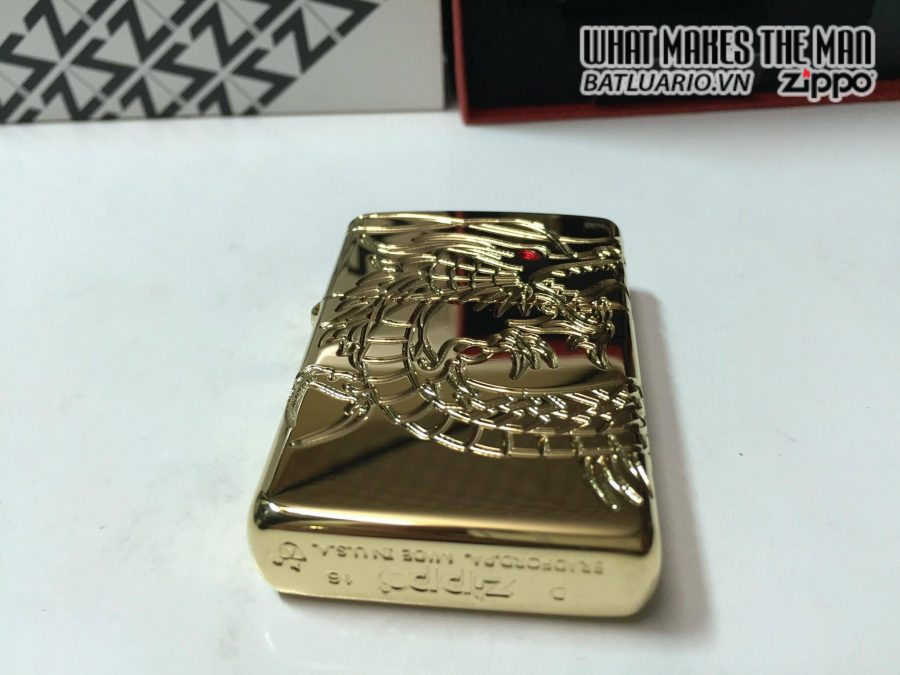 Zippo 29265 – Zippo Red Eyed Dragon 360 Degree Engraving Gold Plate 5