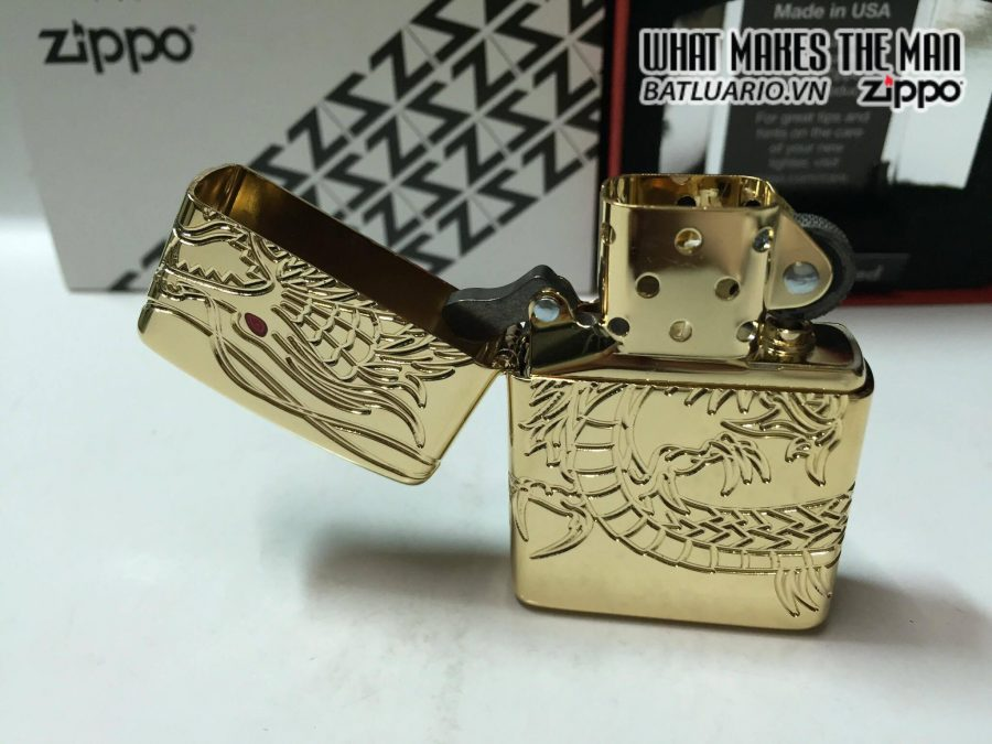 Zippo 29265 – Zippo Red Eyed Dragon 360 Degree Engraving Gold Plate 1