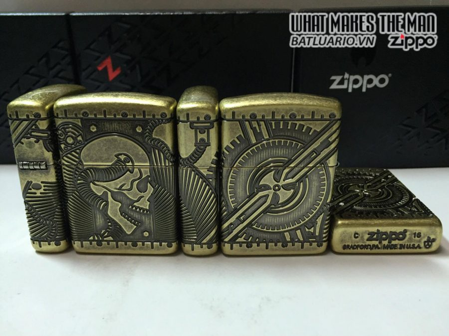 Zippo 29268 – Zippo Steampunk 360 Multicut Antique Brass Armor 5