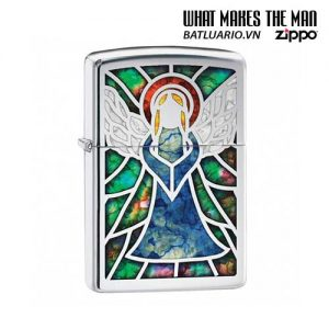 Zippo 28967 - Zippo Stained Glass Angel High Polish Chrome Fusion