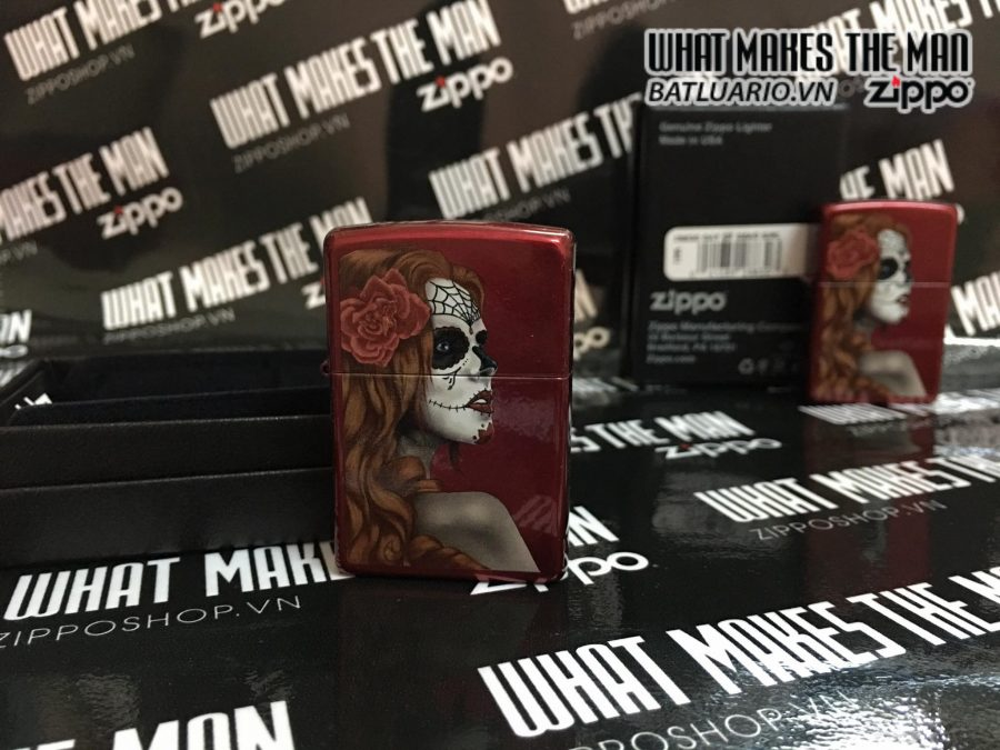 Zippo 28830 – Zippo Day of The Dead Girl Candy Apple Red 1