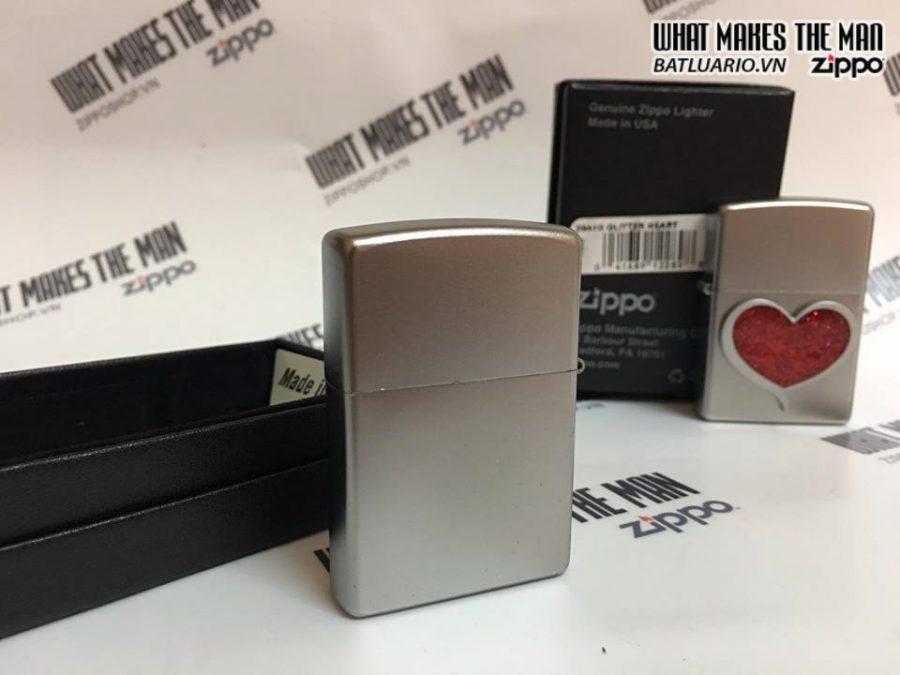 Zippo 29410 – Zippo Glitter Heart Satin Chrome 1