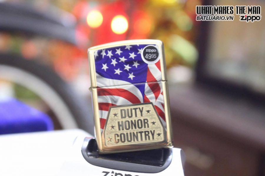 ZIPPO 169 DUTY HONOR COUNTRY ARMOR HIGH POLISH BRASS 2