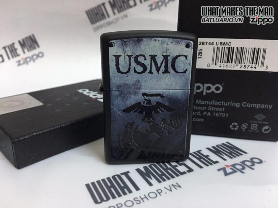Zippo 28744 - Zippo USMC Black Matte Steel Like Design