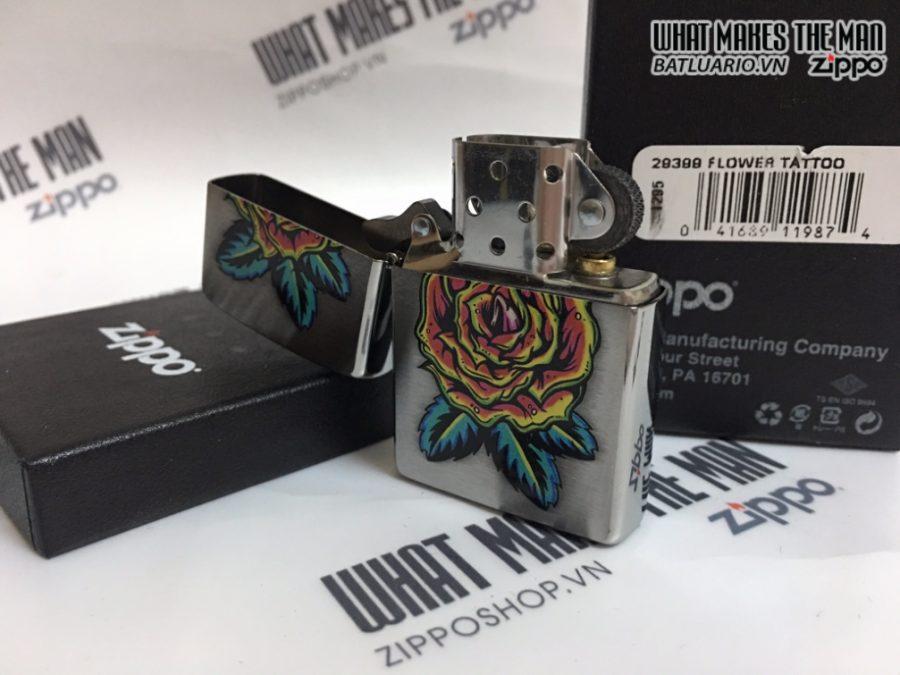 Zippo 29399 - Zippo Flower Tattoo Brushed Chrome