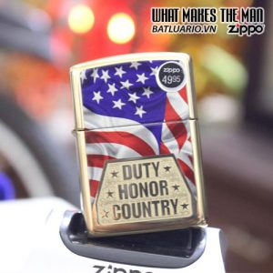 ZIPPO 169 DUTY HONOR COUNTRY ARMOR HIGH POLISH BRASS