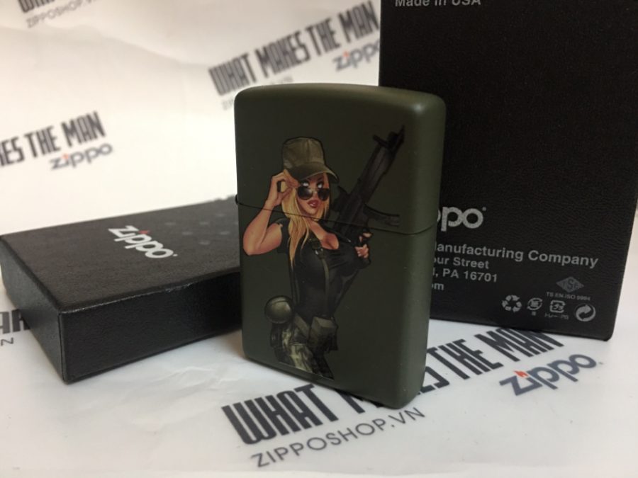 ZIPPO 221 SOLDIER GIRL PINUP 2