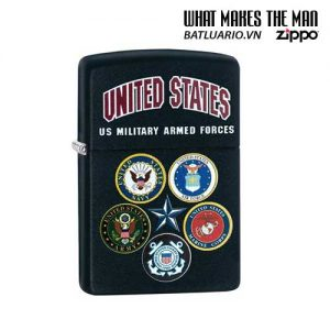 Zippo 28898 – Zippo US Military Armed Forces Crest Black Matte