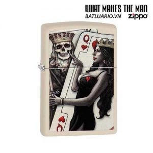 Zippo 29393 – Zippo Skull King Queen Beauty Cream Matte