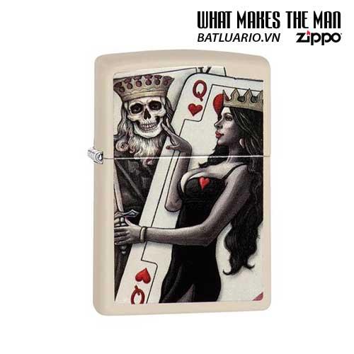 Zippo 29393 – Zippo Skull King Queen Beauty Cream Matte