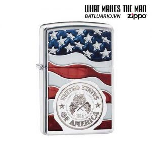 Zippo 29395 – Zippo American Stamp On Flag High Polish Chrome