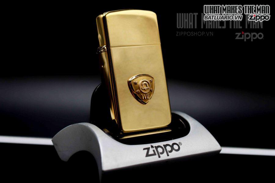ZIPPO SLIM 1980 – GOLD PLATE – EMBLEM W E 1