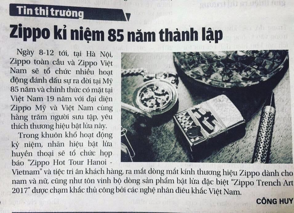 """Thông tin trên báo giấy về EVENT """"ZIPPO HOT TOUR HANOI - VIETNAM"""""""