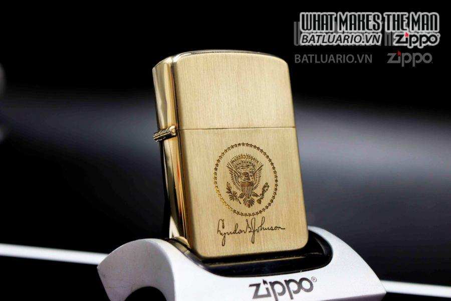 ZIPPO XƯA 1960S – 10K GOLD FILLED – LYNDON B JOHNSON 7