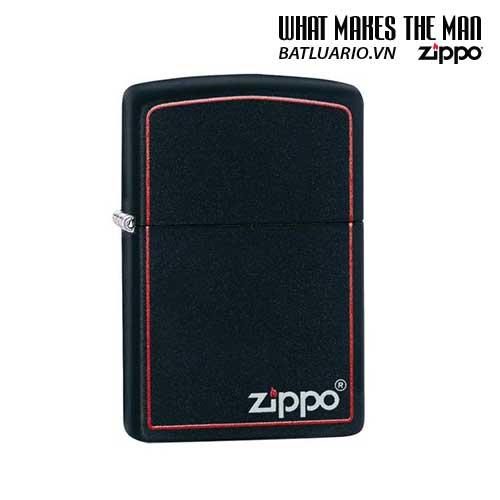 Zippo 218ZB – Zippo Black Matte with Zippo Logo and Border