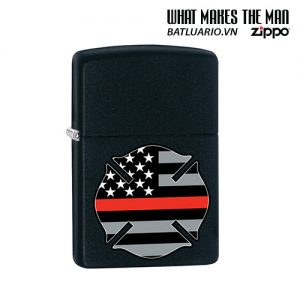 Zippo 29553 - Zippo Firefighter Flag Thin Red Line Black Matte