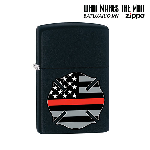 Zippo 29553 - Zippo Firefighter Flag Thin Red Line Black Matte