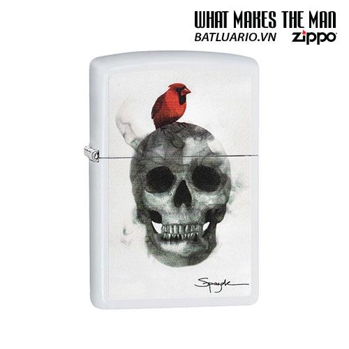 Zippo 29644 - Zippo Spazuk Skull with Bird White Matte