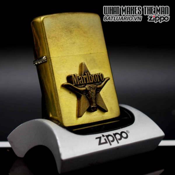 zippo 1991 marlboro longhorns đồng nguyên khối 1