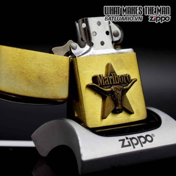 zippo 1991 marlboro longhorns đồng nguyên khối 11