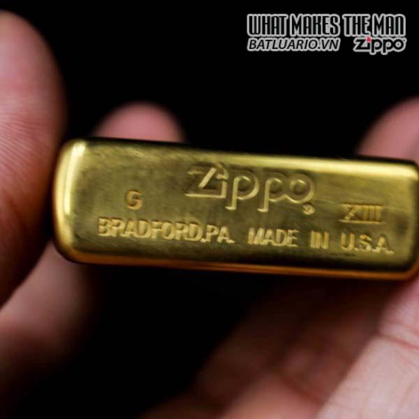 zippo la mã 1997 đồng nguyên khối trơn 2 mặt 6