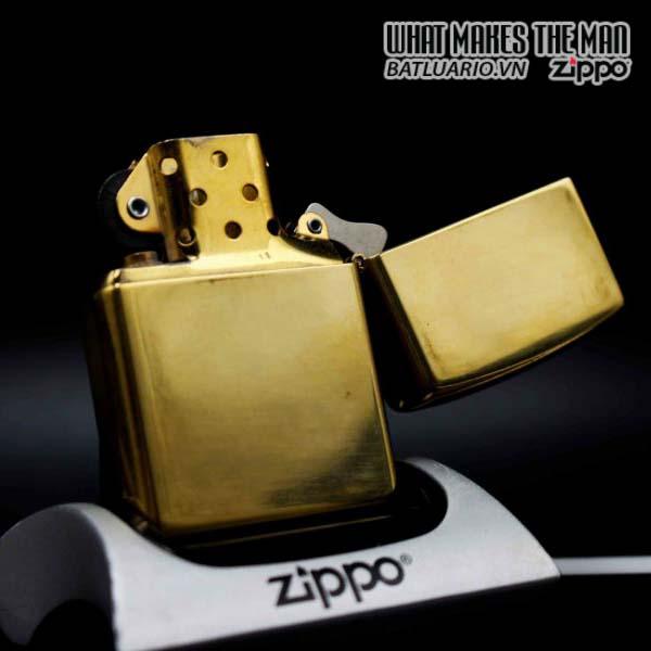 zippo la mã 1997 đồng nguyên khối trơn 2 mặt 8