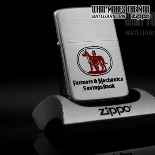 zippo xưa 1954-1955 farmers mechanics savings bank 1