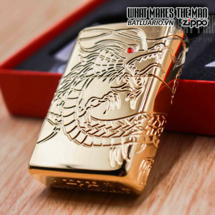 zippo 29265 zippo red eyed dragon 360 degree engraving gold plate 2 16