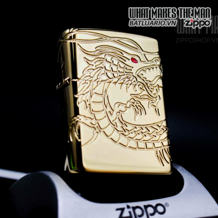 ZIPPO 29265 – ZIPPO RED EYED DRAGON 360 DEGREE ENGRAVING GOLD PLATE