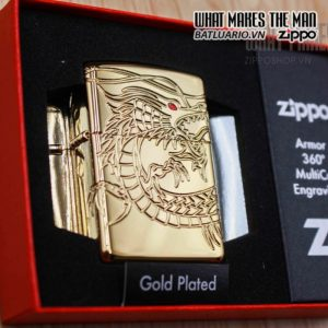zippo 29265 zippo red eyed dragon 360 degree engraving gold plate 2 17