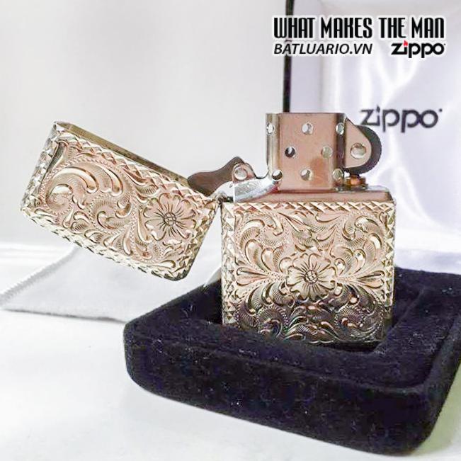 Zippo BẠC KHỐI ARMOR hoa văn 5 mặt – ĐỘC – ĐẸP