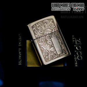 zippo la mã 1992 venetian đồng nguyên khối hoa văn ý 8