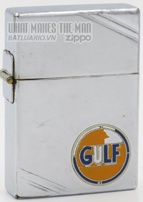Zippo 1935 Metallique Gulf Oil outside hinge