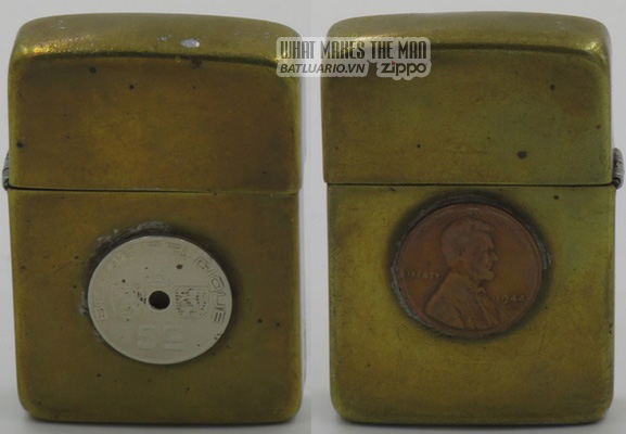 Zippo 1942-45 attached Penny trench art