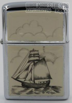 Zippo 1980 sloop scrimshawed by Lois McLane